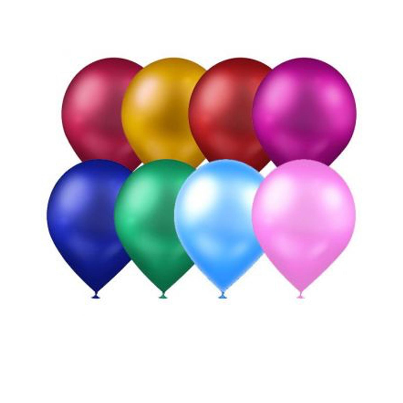 Atom Balon Metalik Karışık Renkli Balon 12 inç 100 Adet