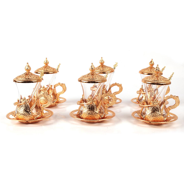 Lendi Osmanlı Motifli Altın Sarısı Çay Takımı Cam Kaşık Hediyeli